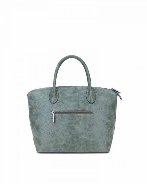 Tas Mila Snake groen groene handtas schoudertas rits stevig dames tassen fashion online kunstleder bestellen achterkant