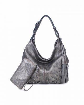 Tas & Portemonnee Billy grijs grijze dames handtas gevlochten onderkant 2 kwastjes losse portemenee bag in bag schoudertas it bags tassen online