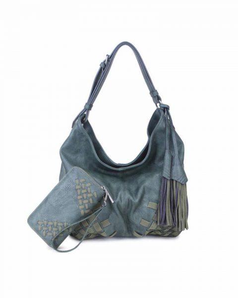 Tas & Portemonnee Billy groen groene dames handtas gevlochten onderkant 2 kwastjes losse portemenee bag in bag schoudertas it bags tassen online