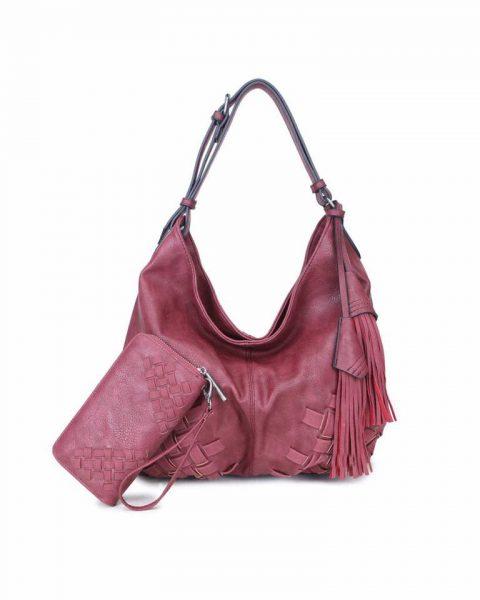Tas & Portemonee Billy rood rode dames handtas gevlochten onderkant 2 kwastjes losse portemenee bag in bag schoudertas it bags tassen online