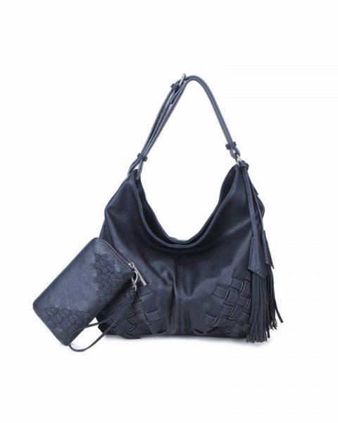 Tas & Portemonnee Billy zwart zwarte dames handtas gevlochten onderkant 2 kwastjes losse portemenee bag in bag schoudertas it bags tassen online