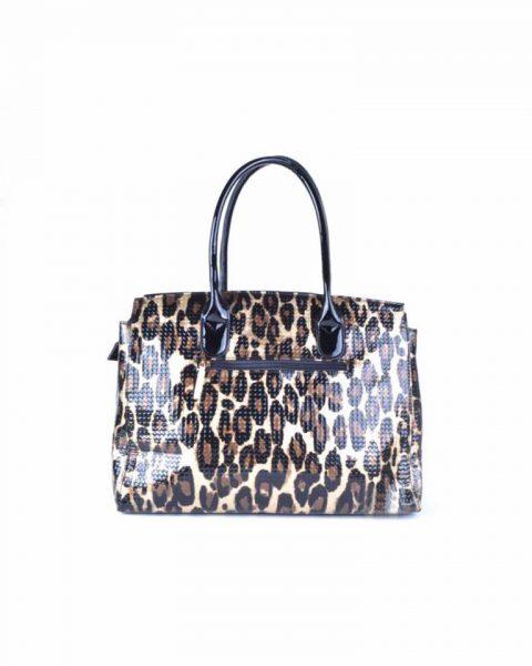 Tas Leopard Lilly tijgerprint kunstleder tas gouden kettingen beslag look a like musthave dames tassen tijger prints kopen online fashion achterkant
