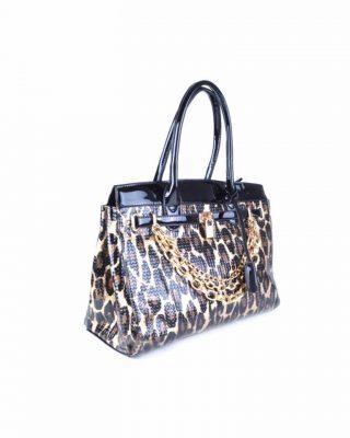 Tas Leopard Lilly tijgerprint tas gouden kettingen beslag look a like musthave dames tassen tijger prints kopen online fashion zijkant
