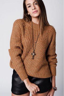 Trui Chunky Wol bruin bruine dikke dames truien sweaters modemusthaves wintertruien online bestellen kopen detail