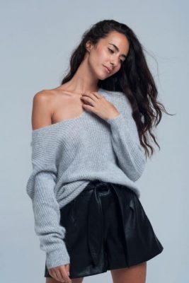 Trui Nona gouddraad grijs grijze dames truien sexy v open schouder winter dames fashion modemusthaves online bestellen