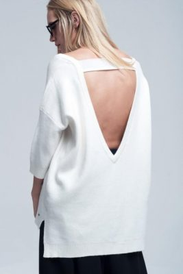 Trui Stones open rug wit witte dames truien sweaters kleding half lange mouwen sexy open back modemusthaves achterkant