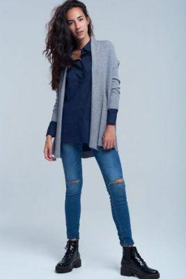 Vest Sam grijs grijze gebreid dames vesten winter kleding cardigan open vest modemusthaves fashion