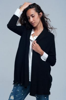 Vest Sam zwart zwarte gebreid dames vesten winter kleding cardigan open vest modemusthaves fashion