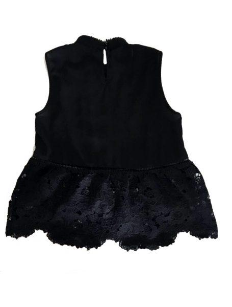 Zwarte Top Sara zwart kanten dames top kleding topjes trui truitjes vrouwen kleding mode online bestellen achterkant kopen