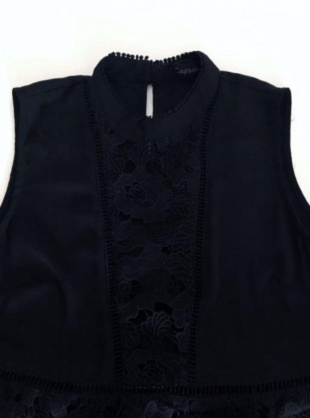 Zwarte Top Sara zwart kanten dames top kleding topjes trui truitjes vrouwen kleding mode online bestellen voorkant
