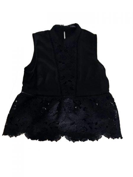 Zwarte Top Sara zwart kanten dames top kleding topjes trui truitjes vrouwen kleding mode online bestellen voorkant fashion