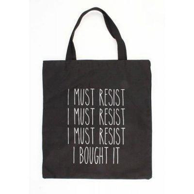 Zwarte canvas tas resist hippe grote canvas tas zwart tekst musthave fashion tassen dames online kopen XL