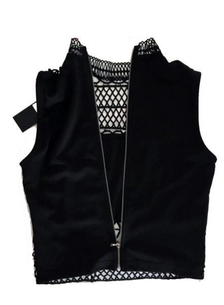 Zwarte top Rits zwart dames topjes truitje gehaakt kanten gehaakte dames mode online bestellen achterkant rits