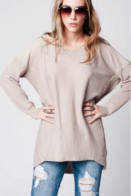 lange Trui Lara beige nude lange dames truien sweaterdress jurk dames fashion modemusthaves online kopen