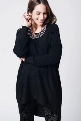 lange Trui Lara zwart zwarte lange dames truien sweaterdress jurk dames fashion modemusthaves online kopen