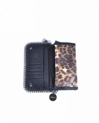Clutchtas Leopard Lily panter print tasjes met kettingen dames clutches schoudertasjes zilveren beslag fashion itbags