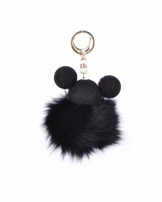 Sleutelhanger Mickey zwart zwarte wollen tassenhanger sleutelhangers met mickey mouse oortjes musthave fashion