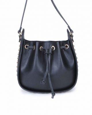 Tas Side Studs zwart zwarte dames schoudertassen met studs rondom buideltasjes itbags met studs musthaves fashion kopen online