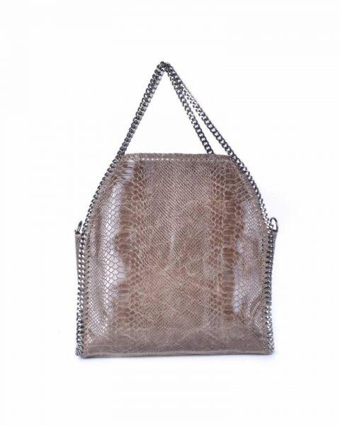 Leren Croco Tas Chains bruin bruine leren kroko print tas ketting hengsel look a like dierenprint musthave fashion tassen