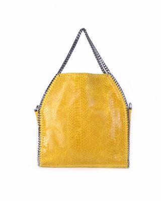 Leren Croco Tas Chains geel gele leren kroko print tas ketting hengsel look a like dierenprint musthave fashion tassen