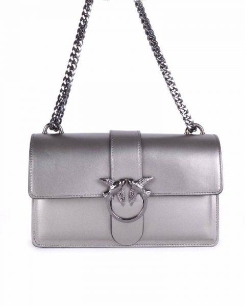 Leren Tas Birds zilver grijs grijze zilveren vogel gesp stevige dames schoudertassen kettinghengsel schoudertas musthave it bags online