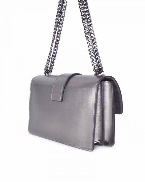 Leren Tas Birds zilver grijs grijze zilveren vogel gesp stevige dames schoudertassen kettinghengsel schoudertas musthave it bags online zijkant itbags