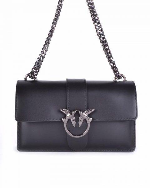 Leren Tas Birds zwart zwarte vogel gesp stevige dames schoudertassen kettinghengsel schoudertas musthave it bags online
