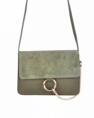 Leren Tas Faye Suede groen groene lederen leren tassen met suede flap gouden ring en ketting musthave it bags fashion bestelen