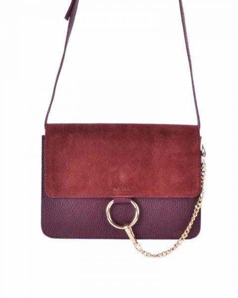 Leren Tas Faye Suede rood rode leren tassen met suede flap gouden ring en ketting musthave it bags fashion bestelen