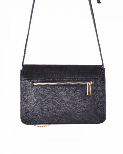 Leren Tas Faye Suede zwart zwarte leren tassen met suede flap gouden ring en ketting musthave it bags fashion bestelen achterkant