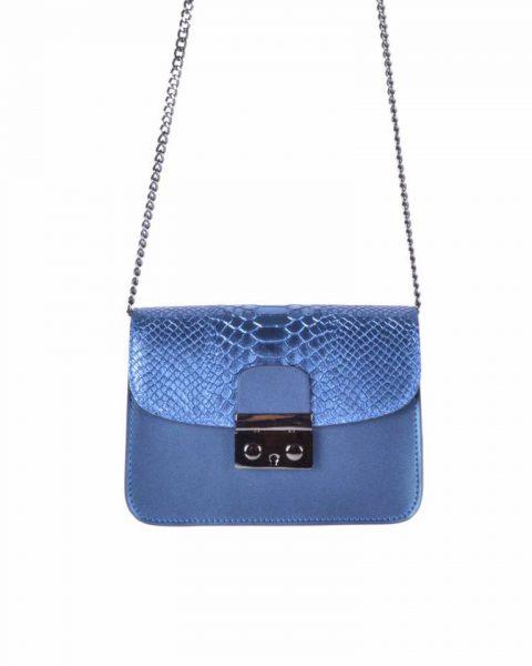 Leren Tas Metallic Croco blauw blauwe stevige dames schoudertassen kettinghengsel schoudertas musthave it bags online