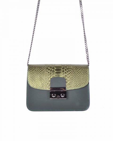 Leren Tas Metallic Croco groen groene stevige dames schoudertassen kettinghengsel schoudertas musthave it bags online