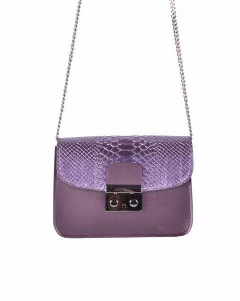 Leren Tas Metallic Croco paars paarse stevige dames schoudertassen kettinghengsel schoudertas musthave it bags online