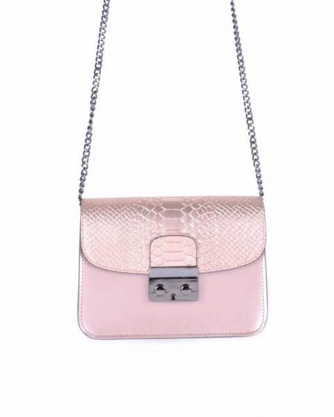 Leren Tas Metallic Croco rose roze pink stevige dames schoudertassen kettinghengsel schoudertas musthave it bags online