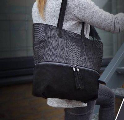 Suede Shopper Croco zwart zwarte half suede grote tassen met kwastje musthave it bags shoppers tas online bestellen nu