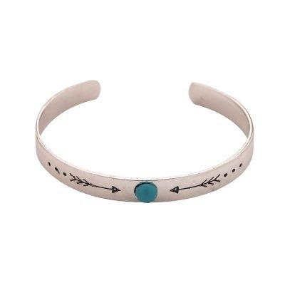 Armband Ethnic Arrow zilver zilveren open rvs dames armband met turquoise blauwe steen musthave fashion sieraden kado