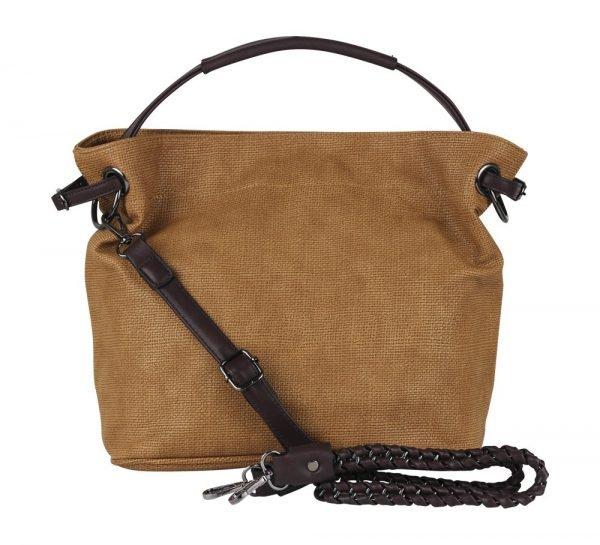 Bruine Tas Jeebee donker bruin hengsel en details canvas look dames tassen online bestellen camel tassen