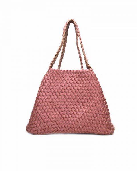 Gevlochten Tas braids roze pink taupe nude beige tas binnenste buiten omgekeerd duo tas 2 tassen ineen fashion grote shoppers musthaves kopen