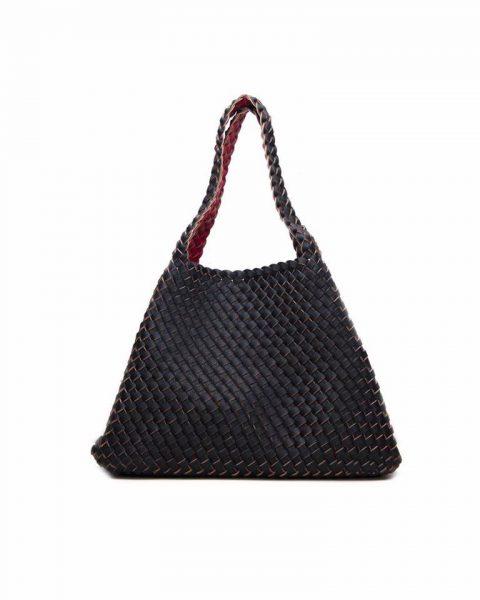 Gevlochten Tas braids zwart zwarte rood rode tas binnenste buiten omgekeerd duo tas 2 tassen ineen fashion grote shoppers musthaves kopen