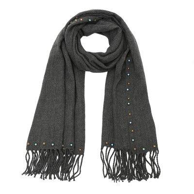 Grijze Sjaal Studs grijs lange warme wollen sjaal met blauwe gouden studs dames sjaals omslagdoeken winter accessoires kopen