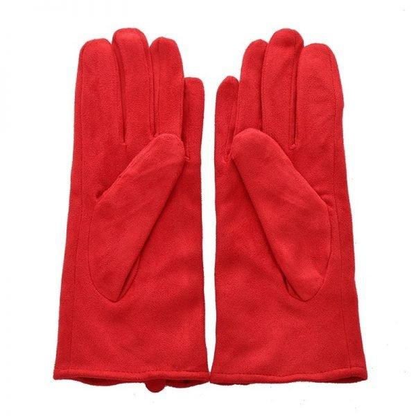 Handschoenen Chic Bow rood rode Gloves dames handschoenen met strikje suede feel fashion winter warme wanten bestellen