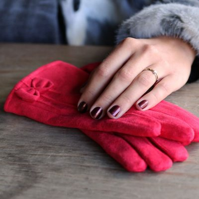 Handschoenen Chic Bow rood rode Gloves dames handschoenen met strikje suede feel fashion winter warme wanten bestellen nu