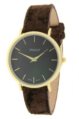Horloge Velvet Nox Goud bruin bruine ernest dames horloges suede velvet band rose kast musthave horloges watches ladies