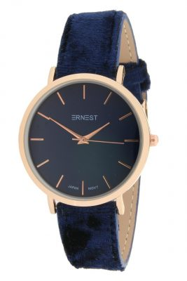 Horloge Velvet Nox Rose blauw blauwe ernest dames horloges suede velvet band rose kast musthave horloges watches ladies