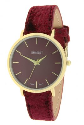 Horloge Velvet Nox goud rood rode bordeaux ernest dames horloges suede velvet band rose kast musthave horloges watches ladies