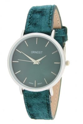 Horloge Velvet Nox zilvere groen groene ernest dames horloges suede velvet band rose kast musthave horloges watches ladies