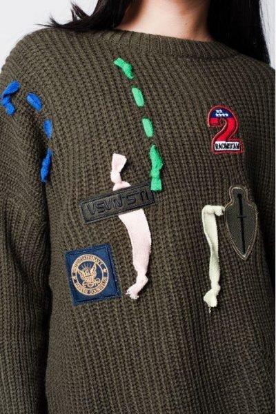 Khaki Trui Patches groen groen kaki dames truien dikke winter kleding warme sweater sweaters online bestellen fashion patch