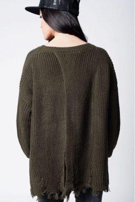 Khaki Trui Patches groen groen kaki dames truien dikke winter kleding warme sweater sweaters online bestellen fashion patch achter