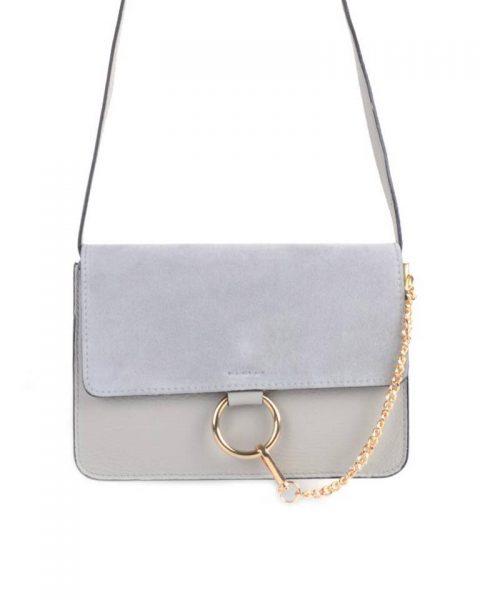 Leren Tas Faye Suede grijs grijze leren tassen met suede flap gouden ring en ketting musthave it bags fashion bestellen leather itbags giuliano