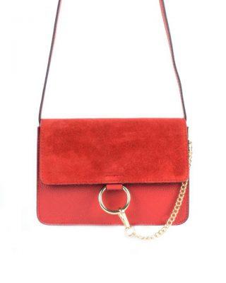 Leren Tas Faye Suede rood rode leren tassen met suede flap gouden ring en ketting musthave it bags fashion bestellen leather itbags giuliano